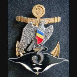 3° RIMA : Insigne métallique de la 2° Cie du 3° Régiment d'Infanterie de Marine MANTA de fabrication Delsart (L202)