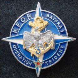 3° RIMA : Insigne métallique du BATFRA1 KFOR 3° Régiment d'Infanterie de Marine de fabrication Sheli 51 mm (L203)