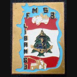 21° RIMA : Insigne métallique du 3° Escadron du 21° Régiment d'Infanterie de Marine Beyrouth peint (L 199)