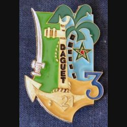 21° & 3° RIMA & RICM : Insigne métallique du 21°, 3° Régiment d'Infanterie de Marine & RICM Daguet fabrication FIA (190)