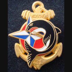 21° RIMa : Insigne métallique du 21° Régiment d'Infanterie de Marine KOSOVO 1999 de fabrication Boussemart (L 199)