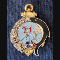 21° RIMa : Insigne métallique du 21° Régiment d'Infanterie de Marine au Liban UNIFIL 80 fabrication Drago (L 199)