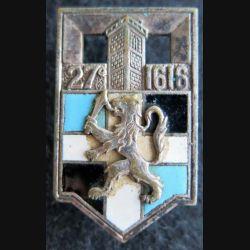 27° RI : insigne métallique du 27° régiment d''infanterie de fabrication Drago Paris en émail