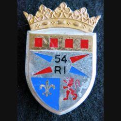 54° RI : Insigne métallique du 54° régiment d'infanterie de fabrication Fraisse Paris G. 2669