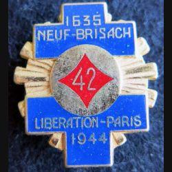 42° RI : Insigne métallique du 42° régiment d'infanterie 1635 Neuf-Brisach Fraisse