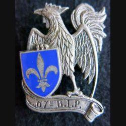 67° BIP : insigne métallique du 67° bataillon d'infanterie portée de fabrication OFSI Paris émail