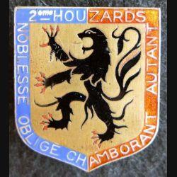 2° RH : insigne métallique du 2° régiment de Hussards de fabrication Arémail en émail