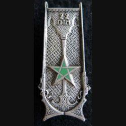 22° DIM : Insigne métallique de la 22° division infanterie marocaine Drago G. 1217 émail