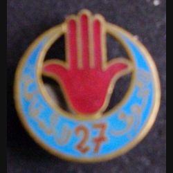 27° RTA : 27° régiment de tirailleurs algériens Arthus Bertrand Paris Déposé ABPD, modèle bleu 33 mm (L 12)