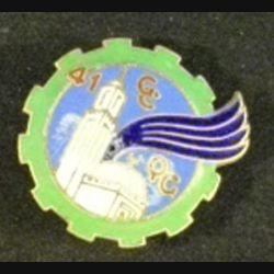 41°GCQG : insigne métallique de la 41°compagnie de commandement et de quartier général de fabrication Drago Paris en émail avec un cheveu d'émail surfacique