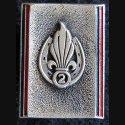 2° REI : insigne métallique du 2° régiment étranger d'infanterie boléro oblong