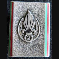 2° REI : insigne métallique du 2° régiment étranger d'infanterie Drago émail