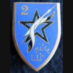 2° DIM : insigne métallique de la 2° division d'Infanterie marocaine de fabrication Drago O. Métra Déposé en émail