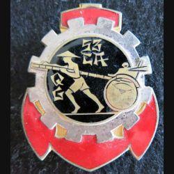 53° CAQG : Insigne métallique de la 53° Compagnie Auto de Quartier Général en Extrême Orient Drago Béranger déposé en émail