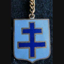 BLASON CROIX DE LORRAINE  : insigne métallique ancien blason en émail croix de Lorraine 23 x 30 mm anneau et chainette
