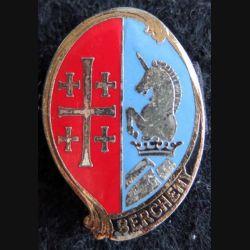 1° RHP : insigne métallique du 1° régiment de hussards parachutistes de fabrication Drago H. 295 en émail
