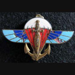 2° RPIMA : insigne métallique du 2° régiment parachutiste d'infanterie de marine Drago G. 1307 en émail