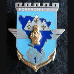 17° RGP: insigne de la 1° compagnie du 17° régiment du génie parachutiste FORPRONU Delsart