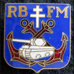 RBFM : insigne métallique du régiment blindé de fusiliers marins de fabrication GE Mardini en émail
