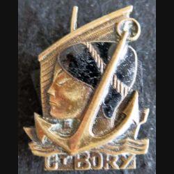 CT BORY  : insigne métallique de l'aviso escorteur Commandant Bory de fabrication Augis Lyon en émail