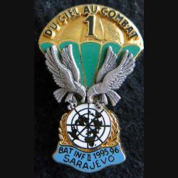 1° RCP : insigne métallique 1° compagnie 1° régiment de chasseurs parachutistes BATINF II 95-96 Sarajevo Ballard
