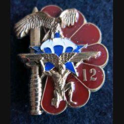 1° RCP : insigne de la 12° compagnie du 1° régiment de chasseurs parachutistes n° 350