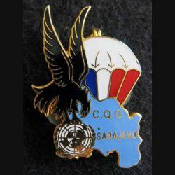 9° RCP : Insigne métallique de la compagnie QG du 9° régiment de chasseurs parachutiste SARAJEVO 92 J.Y Ségalen