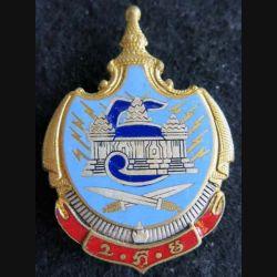 CAMBODGE : Insigne métallique de la 1° compagnie de transmissions armée royale Khmère émail Drago