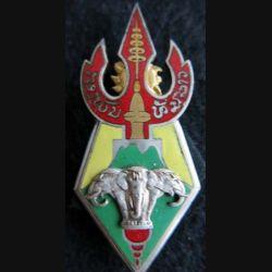 3° BIL : insigne du 3° bataillon d'infanterie du Laos en émail de fabrication Drago Olivier Métra Déposé