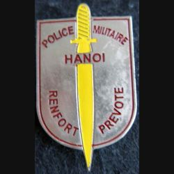 PM HANOI : insigne métallique du renfort prévôtal de la Police Militaire d'Hanoï fabrication locale
