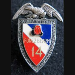 14° RPCS : insigne métallique du 14° régiment parachutiste de commandement et de soutien de fabrication Delsart G. 278