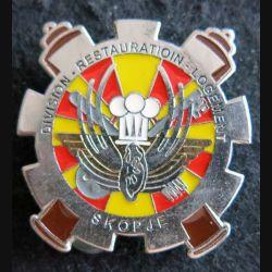 BSVIA DRL : insigne métallique de la division restauration logement de Petrovec Skopje (Macédoine) fabrication locale