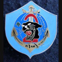 1° RIMA : insigne de la 2° compagnie du 1° régiment d'infanterie de marine à BEYROUTH 1983 de fabrication locale Liban