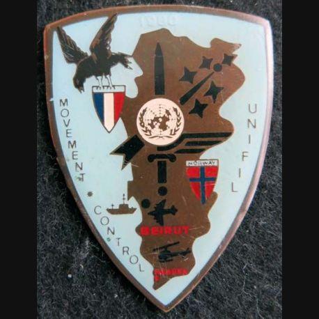 MC UNIFIL : insigne métallique du Movement Control de l'Unifil de fabrication locale