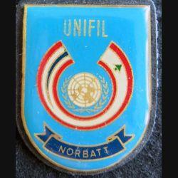 NORBATT : insigne métallique du bataillon norvégien de la FINUL de fabrication locale