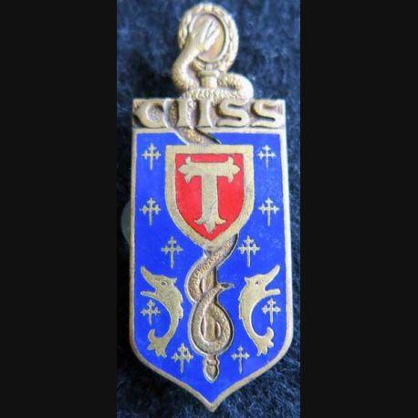 CIISS 6 : insigne métallique du centre instruction interarmées du service de santé N° 6 de fabrication Drago G. 1563 émail