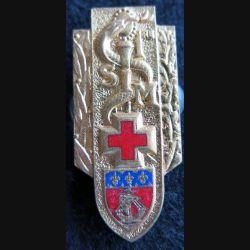 1° SIM : insigne métallique de la 1° section d'infirmiers militaires de fabrication Drago H. 558 émail