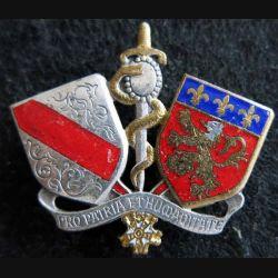 ESS LYON : insigne métallique de l'école du service de santé de Lyon de fabrication Drago H. 251 émail
