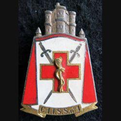 CIISS 1 : insigne métallique du centre instruction interarmées du service de santé N° 1 de fabrication Drago G. 1664 émail