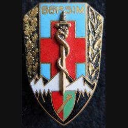 661° SIM : insigne métallique de la 661° section d'infirmiers militaires de fabrication Drago O.M déposé H. 701 émail