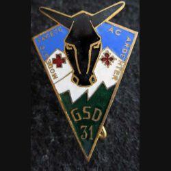 GSD N° 31 : insigne métallique du groupe sanitaire divisionnaire N° 31 de fabrication Drago Béranger déposé