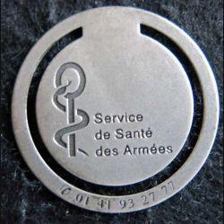 SERVICE DE SANTE : marque page métallique du service de santé des armées 40 mm