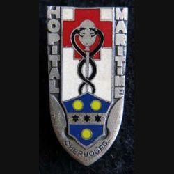 HM CHERBOURG : insigne de l'hôpital maritime de Cherbourg de fabrication Drago Paris émail
