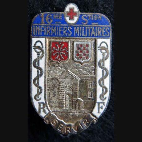 16° SIM : insigne métallique de la 16° section d'infirmiers militaires de Lunel de fabrication Drago Béranger déposé
