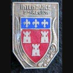 INTENDANCE 9° RM : insigne de l'intendance de la 9° région militaire de fabrication Drago rue Béranger en émail