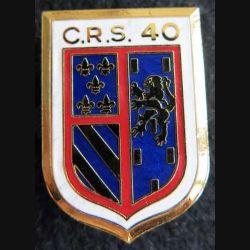 CRS 40 : insigne métallique de la compagnie républicaine de sécurité n° 40 fabrication Destrée émail