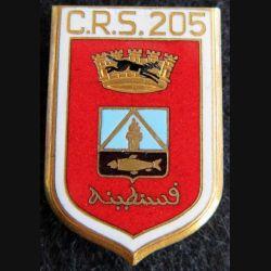 CRS 205 : insigne métallique de la compagnie républicaine de sécurité n° 205 fabrication Drago Romainville émail
