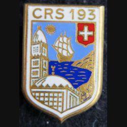 CRS 193 : insigne métallique de la compagnie républicaine de sécurité n° 193 fabrication Drago Romainville émail