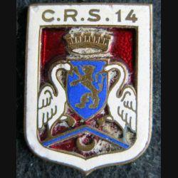 CRS 14 : insigne métallique de la compagnie républicaine de sécurité n° 14 fabrication Augis émail