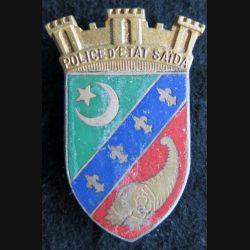 POLICE : insigne de la police d'état de Saïda en Algérie
